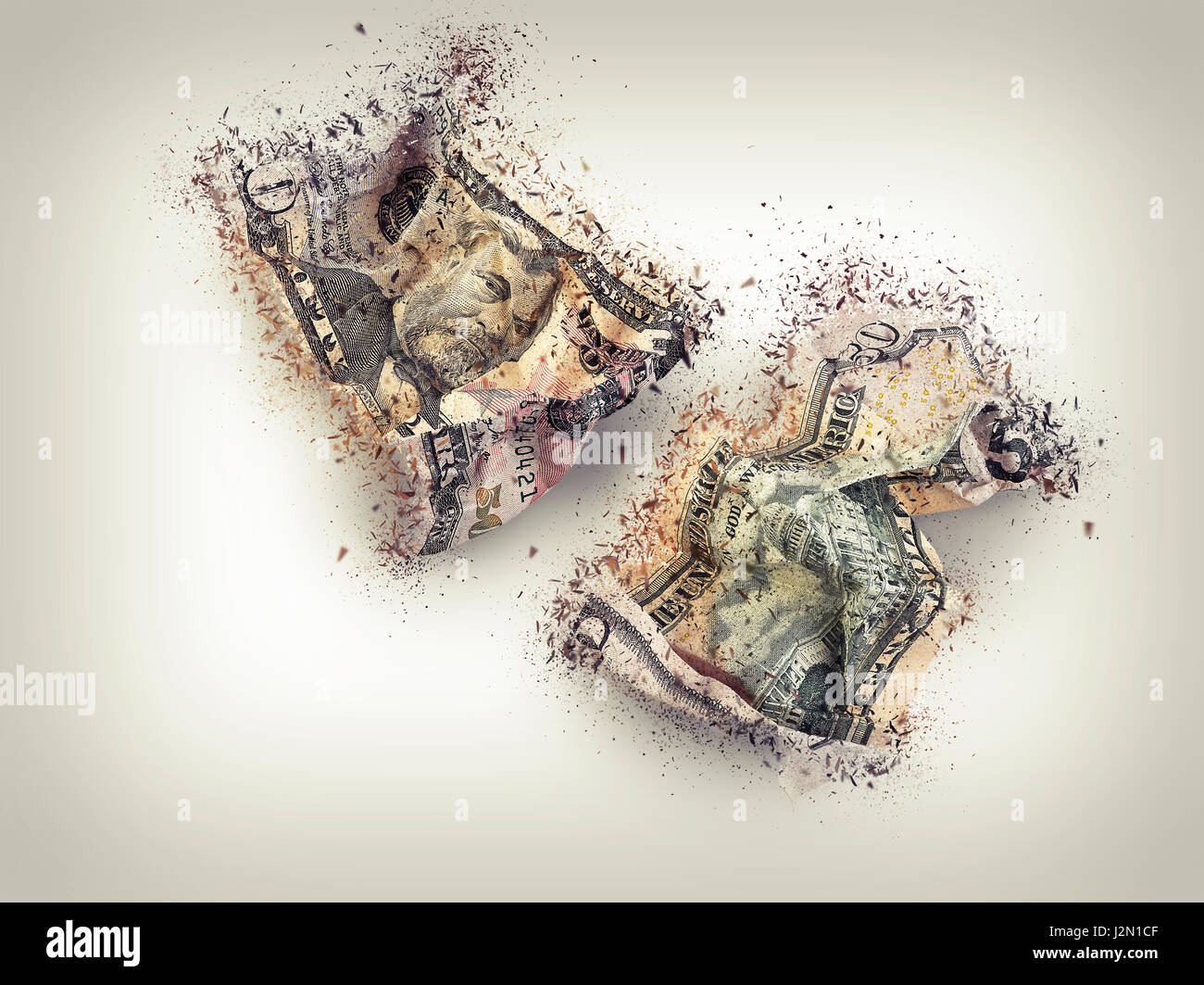 crumpled fifty dollar bill shattered, concept for crisis - Stock Image