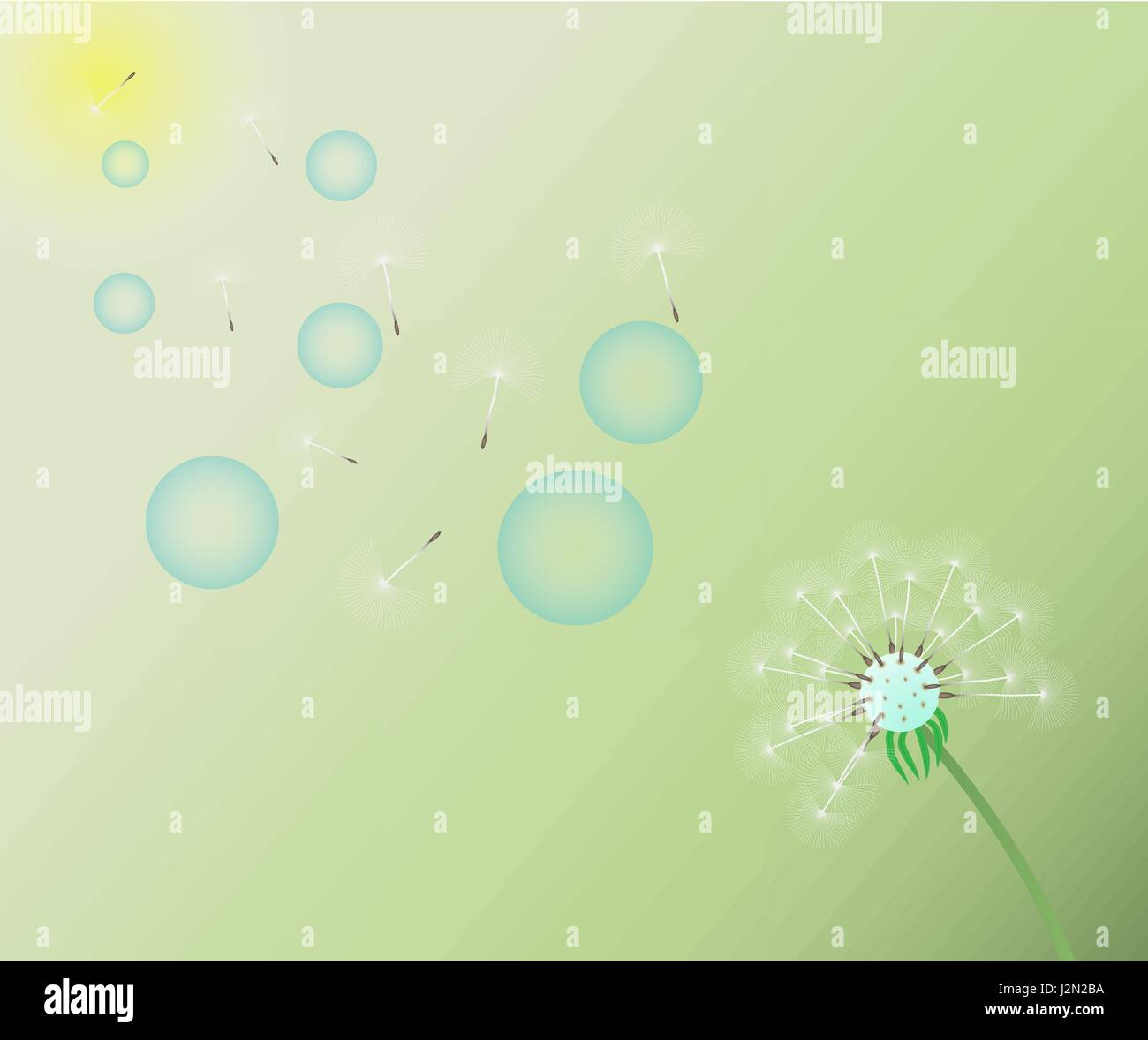 The wind blows bubbles and dandelion seeds. - Stock Vector