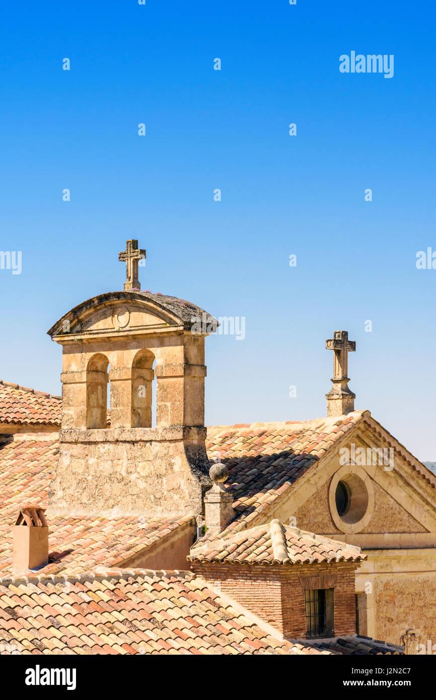 Rooftop detail of the old Convento de las Carmelitas Descalzas, Cuenca, Castilla La Mancha, Spain - Stock Image