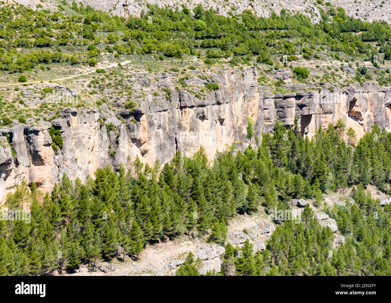 Karst topography forming the Jucar Gorge, Castilla La Mancha, Spain - Stock Image