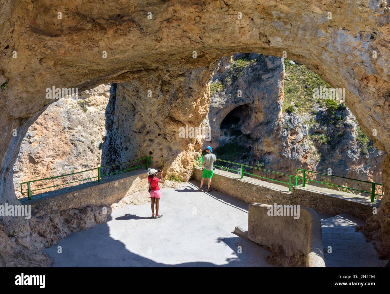 Tourists at the Ventano del Diablo, Castilla La Mancha, Spain - Stock Image