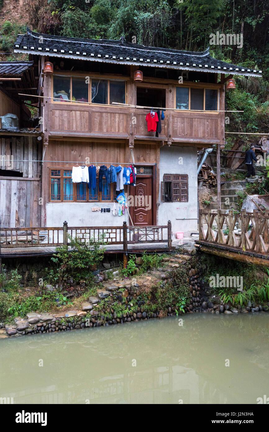 Zhaoxing, Guizhou, China, a Dong Minority Village House. Stock Photo
