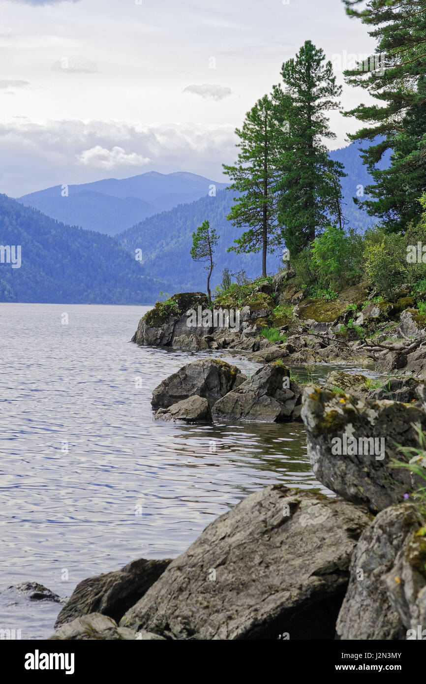 Siberia, Teletskoye Lake. View from the eastern shore to the northern part of the lake Stock Photo