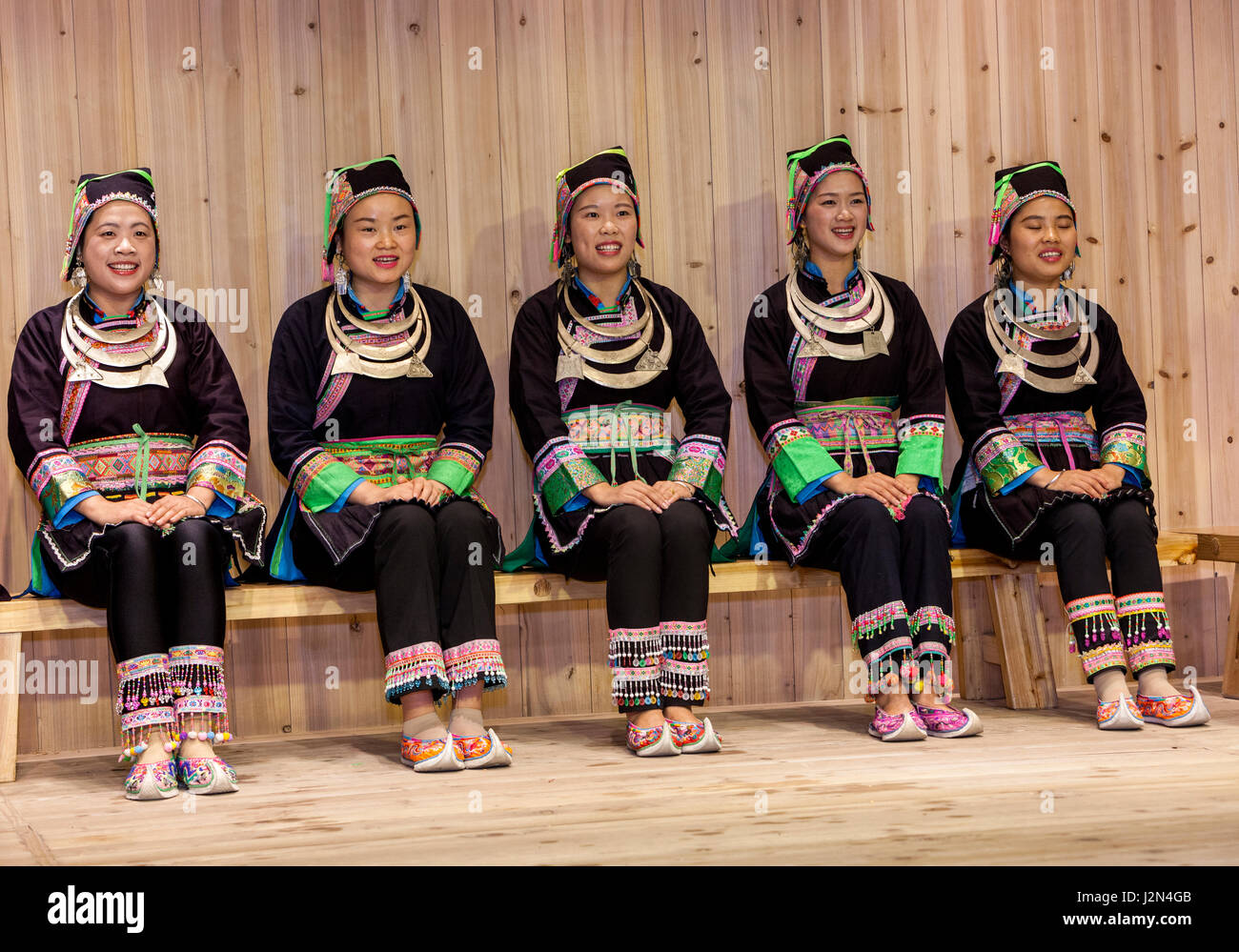 Zhaoxing, Guizhou, China.  Traditional Musical Performance by Members of Dong Ethnic Minority. Stock Photo