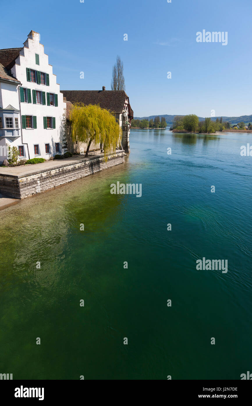View of river in Stein am Rhein, Switzerland in a sunny clear blue sky day Stock Photo