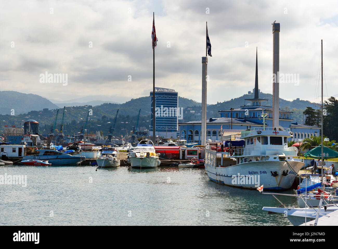 Batumi, Georgia - October 04, 2016: Tourist port is full of boats for fishing and sea trips - Stock Image