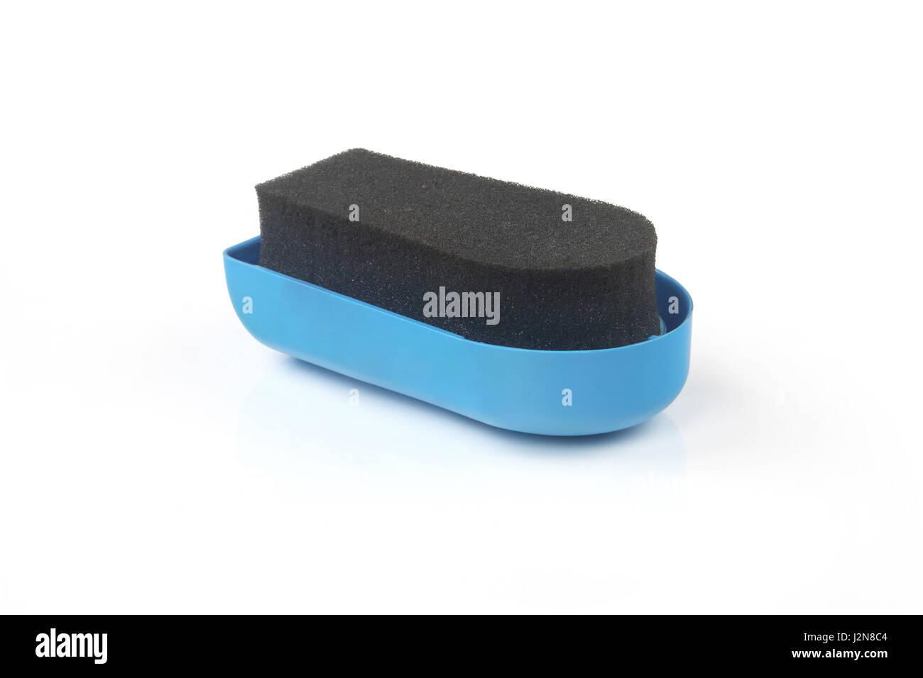 Shoe shine sponge with Shoe - Stock Image