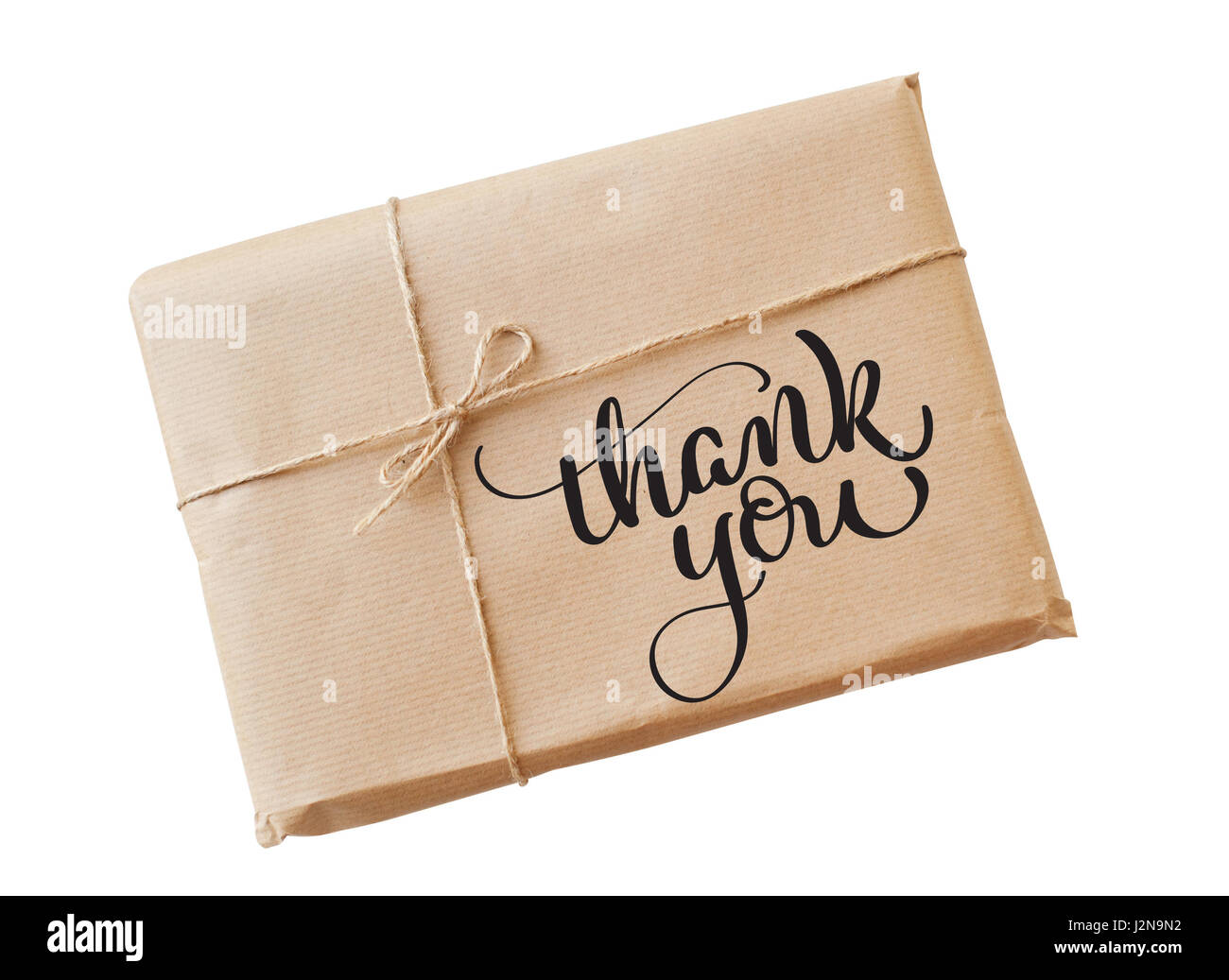 envelope kraft paper tied with string on a white background and text Thank you. Calligraphy lettering hand draw - Stock Image