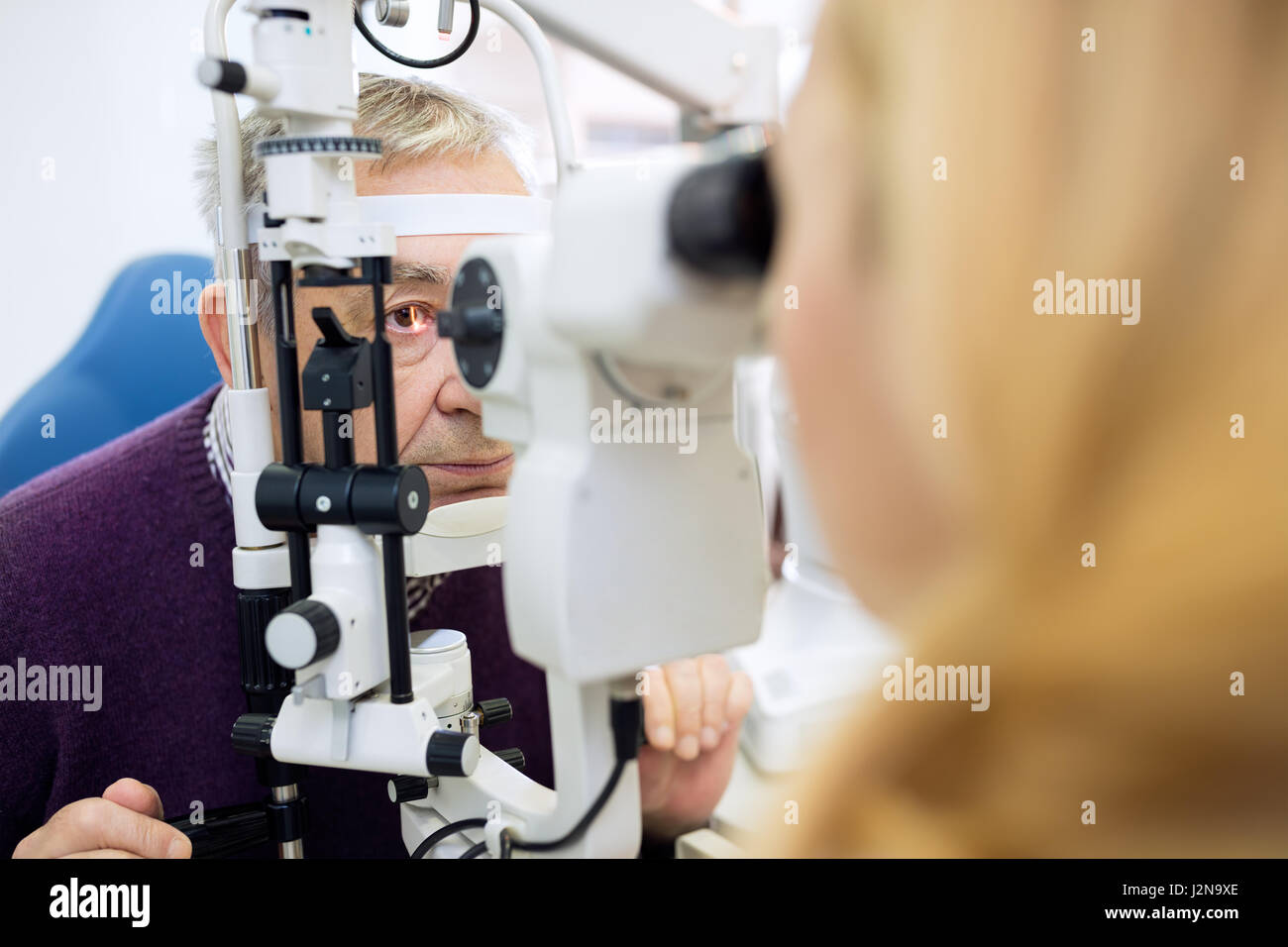 Eyesight control in eye clinic - Stock Image