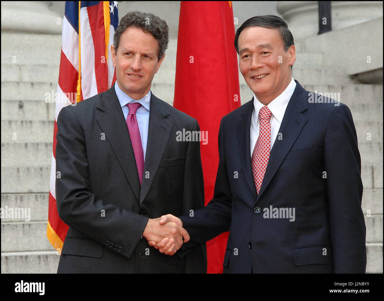 U.S Treasury Secretary Timothy Geithner welcomes Chinese Vice Premier Wang Yang at the first U.S.-China Strategic - Stock Image