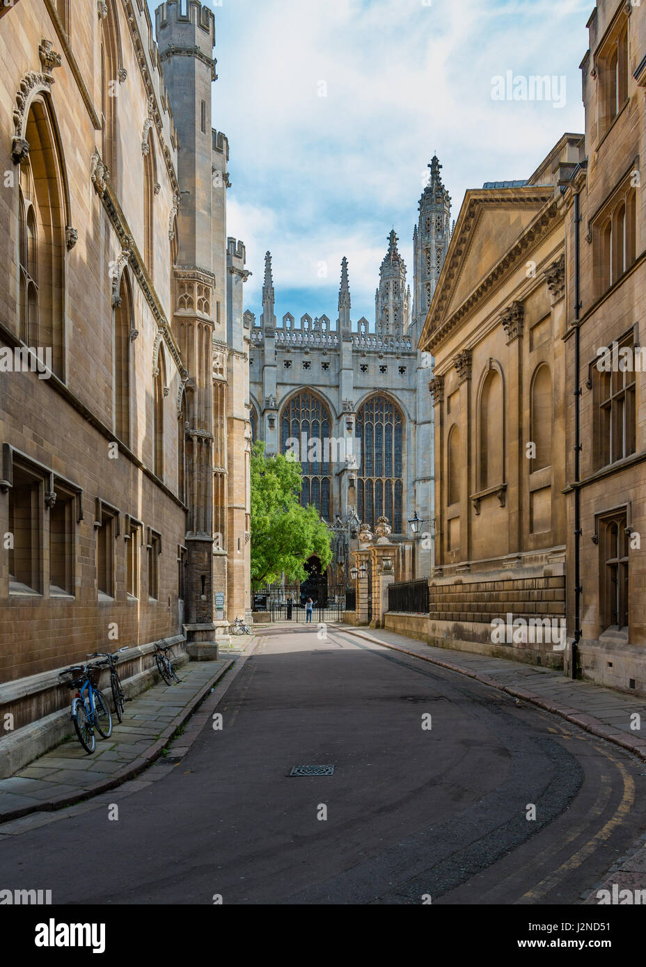 Looking at King's College Chapel from Trinity Lane in Cambridge - Stock Image