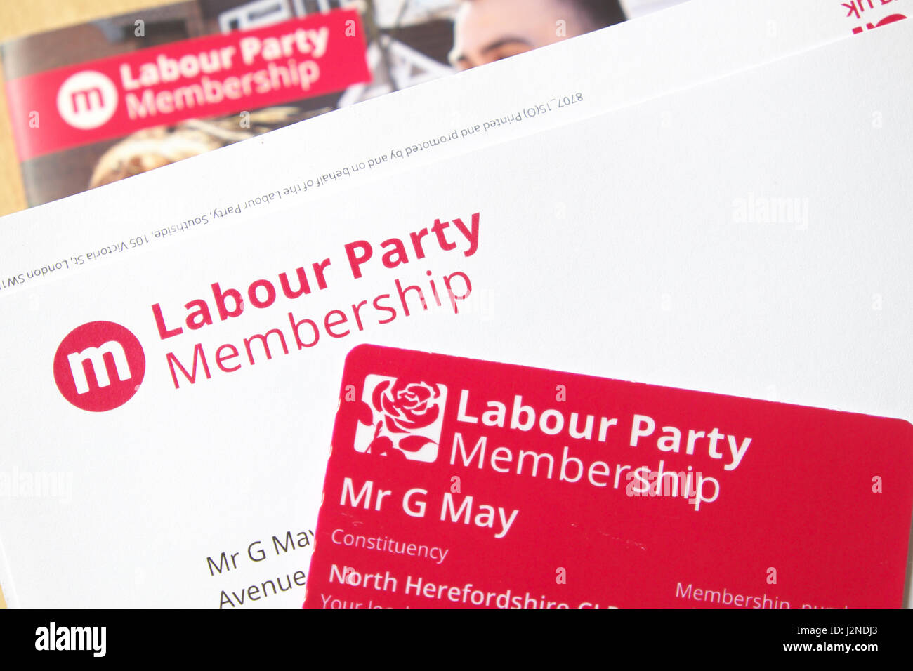 Labour Party membership card and welcome pack 2017 - Stock Image