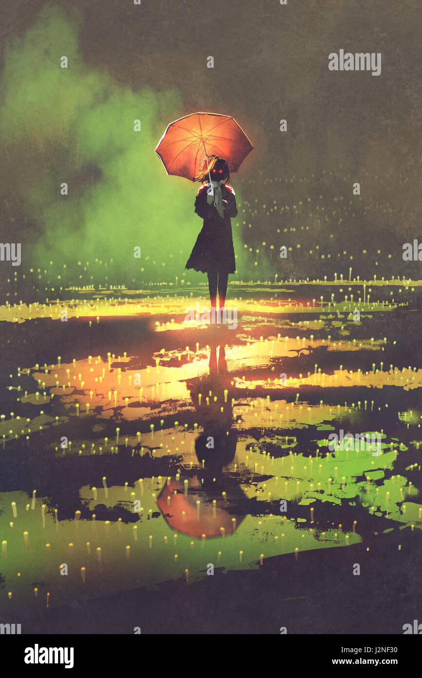 dark fantasy concept of mysterious woman holds umbrella standing in a puddle, illustration digital painting - Stock Image