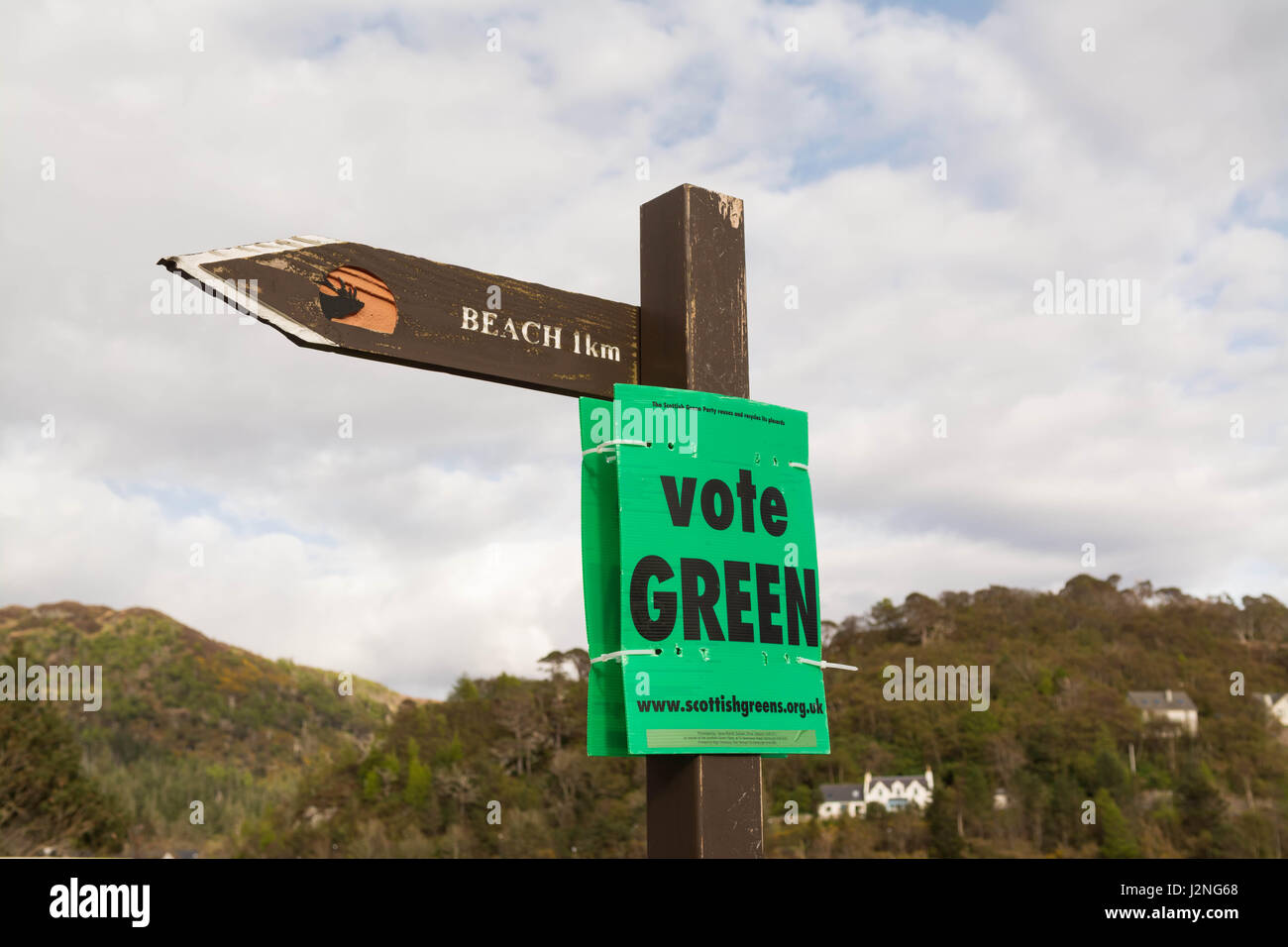 Vote Green election sign - Highlands and Islands, Scotland - Stock Image