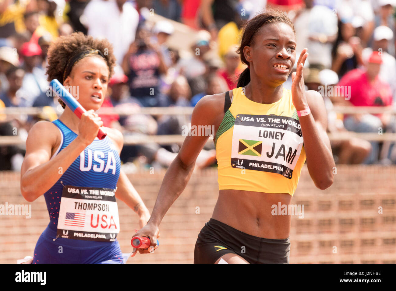 Philadelphia, Pennsylvania, USA. 29th Apr, 2017. TURQUOISE THOMPSON, of Team USA, and DAWALEE LONEY of Jamaica, - Stock Image
