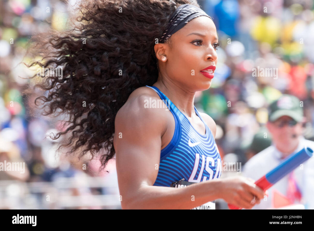 Philadelphia, Pennsylvania, USA. 29th Apr, 2017. NATASHA HASTINGS, of Team USA and competing in the USA vs the World - Stock Image