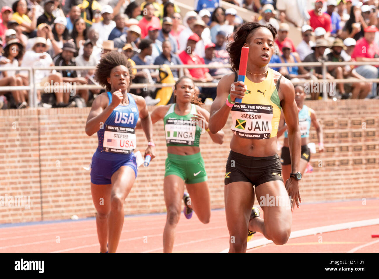Philadelphia, Pennsylvania, USA. 29th Apr, 2017. JAIDE STEPTER, of Team USA, and SHERICKA JACKSON of Jamaica competing - Stock Image