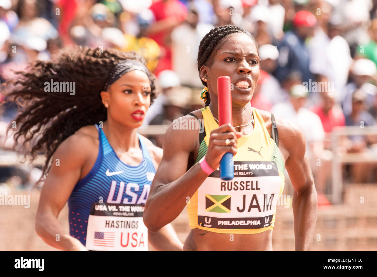 Philadelphia, Pennsylvania, USA. 29th Apr, 2017. NATASHA HASTINGS, of Team USA and JANIEVE RUSSELL of Jamaica competing - Stock Image