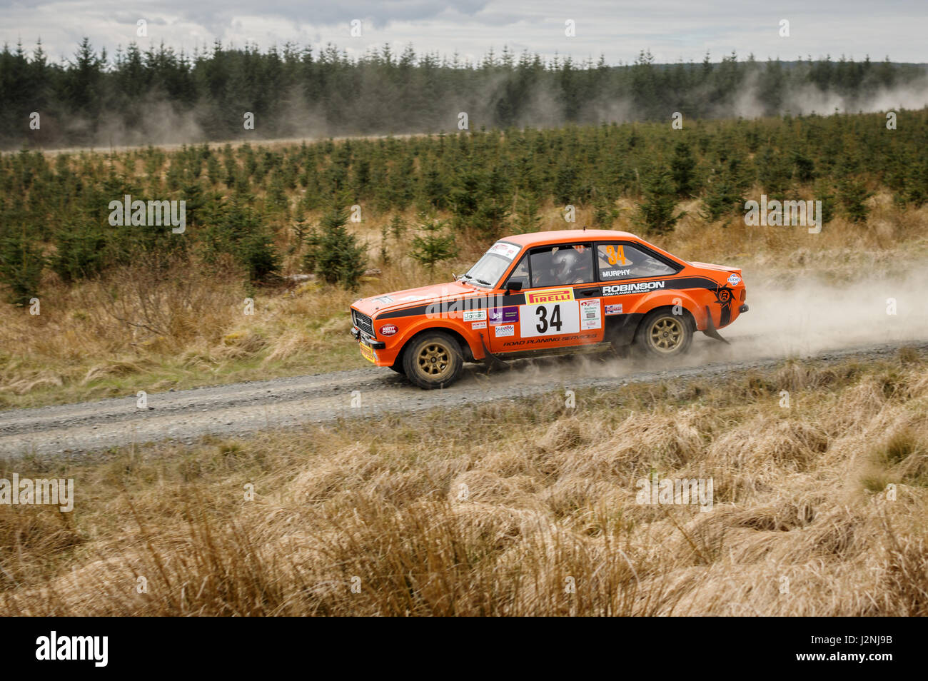 Wark, UK - 29th April, 2017: Rally car taking part in the Pirelli International Rally 2017 (Historic Section).  - Stock Image