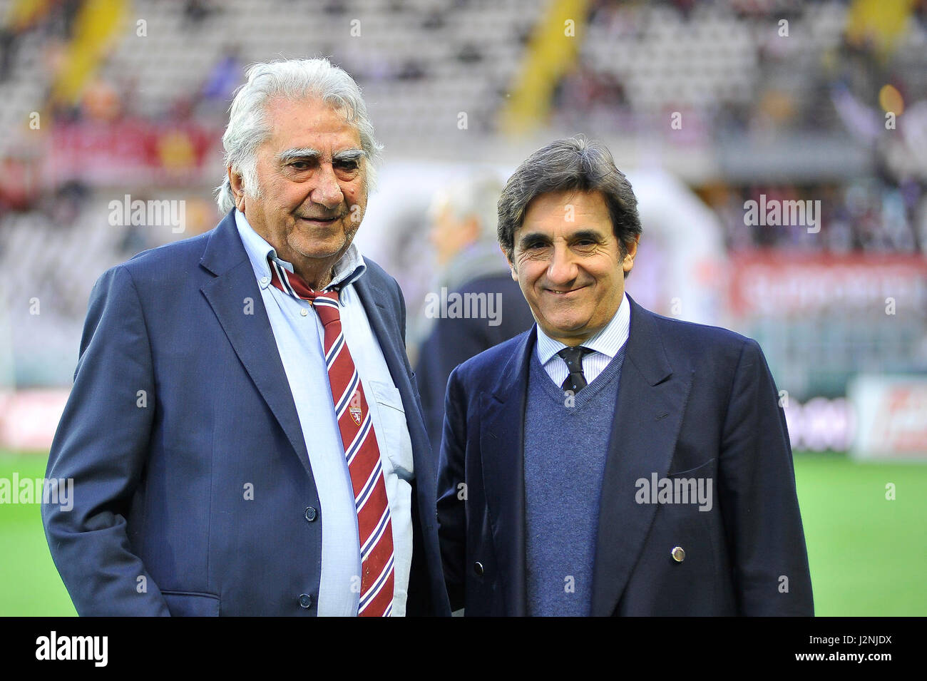 Turin, Italy. 29th April, 2017. Urbano Cairo President Torino FC and his father pre match Serie A TIM between Torino - Stock Image
