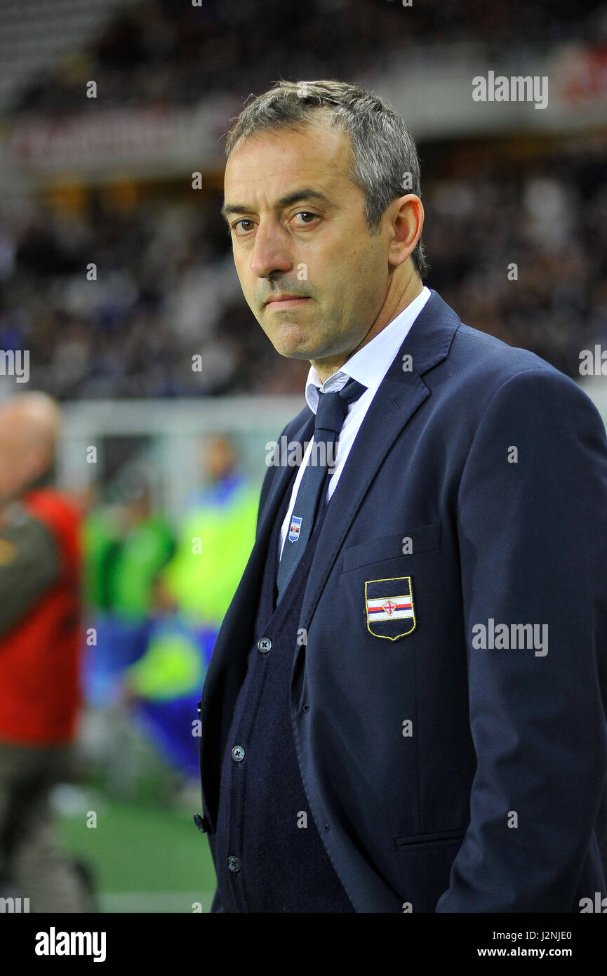 Turin, Italy. 29th April, 2017. Marco Giampaolo head coach Sampdoria pre match Serie A TIM between Torino FC and - Stock Image