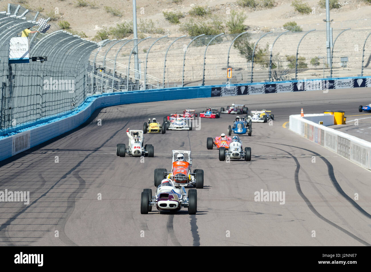 Avondale, USA, 29 April 2017, A large contingent of Historic Indy Cars take parade laps before the start of the - Stock Image