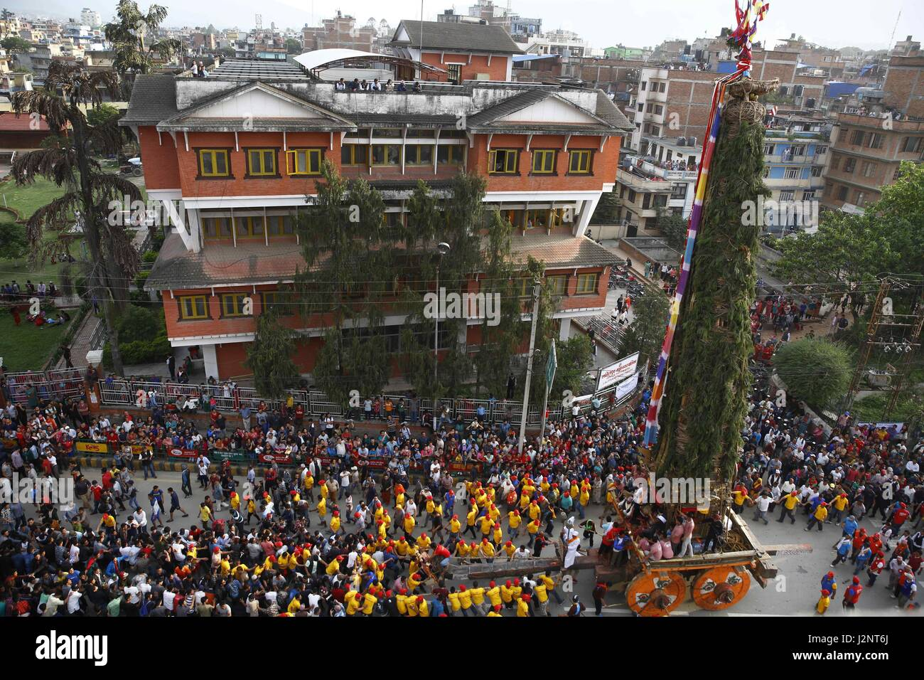 April 30, 2017 - Lalitpur, Nepal - Nepalese revelers pull the ...