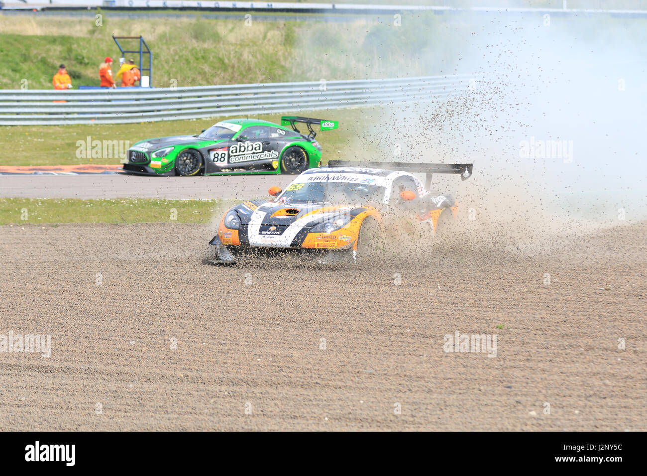 ... Gottsacker and Nathan Freke) loses control and goes into the gravel before being recovered to rejoin the British GT race at Rockingham Motor Speedway ...