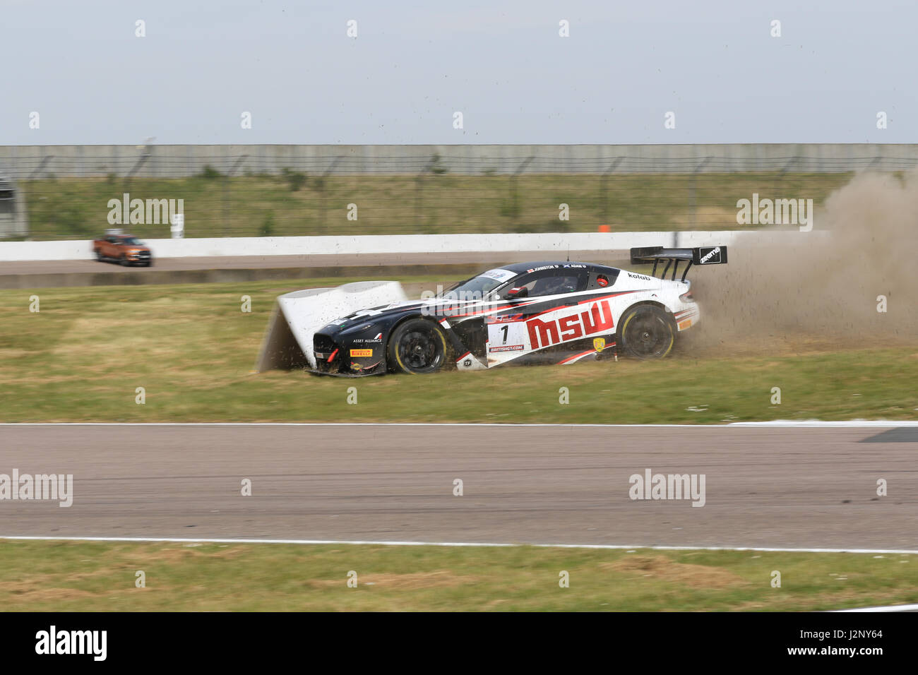 TF Sport car number 1 (Derek Johnston and Jonny Adam) loses control and goes into the gravel for the British GT race at Rockingham Motor Speedway ...