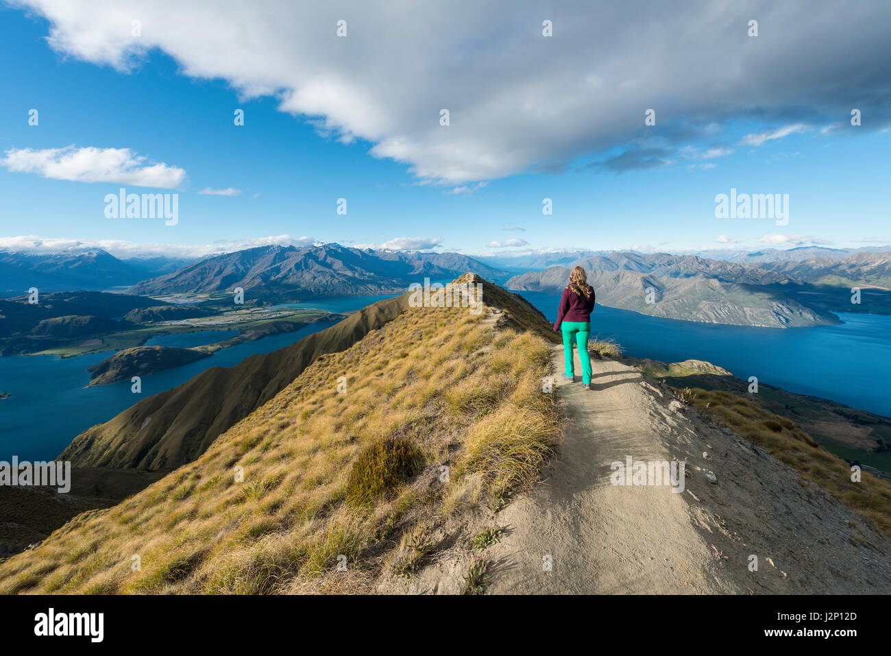 Woman hiking on ridge, view of mountains and lake, Roys Peak, Lake Wanaka, Southern Alps, Otago Region, Southland, - Stock Image