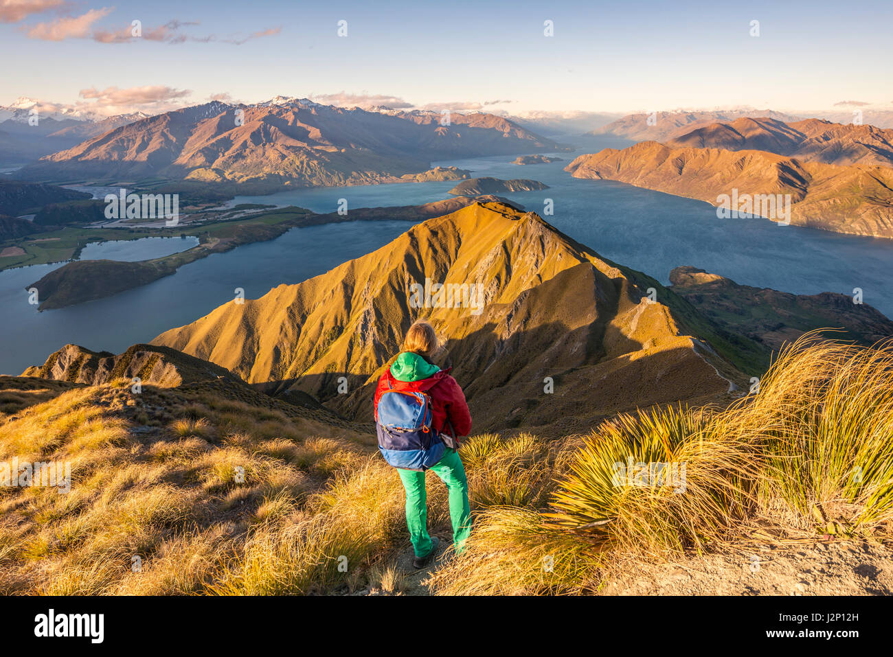 Hiker on path to peak of Roys Peak, evening light, view of mountains and lake, Lake Wanaka, Southern Alps, Otago - Stock Image