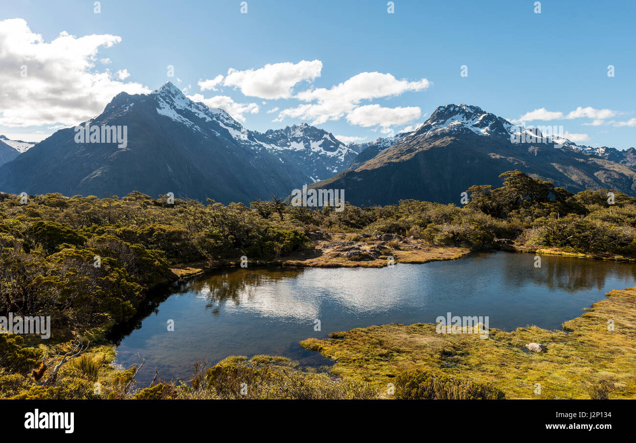 Little Mountain Lake, Mount Christina Mountains, Mount Crosscut, Mount Lyttle, Key Summit Track, Fiordland National - Stock Image
