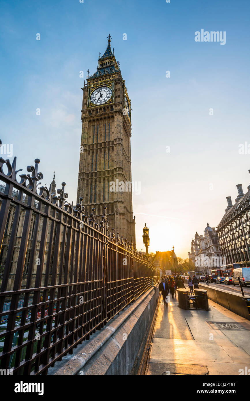 Big Ben backlit, evening light, City of Westminster, London, London region, England, United Kingdom - Stock Image