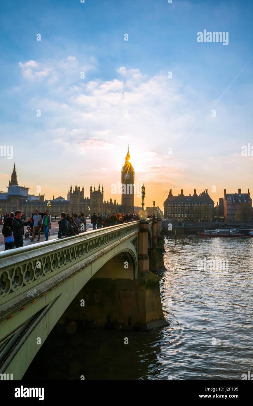 Big Ben backlit, Houses of Parliament, Westminster Bridge, Thames, City of Westminster, London, London region, England - Stock Image