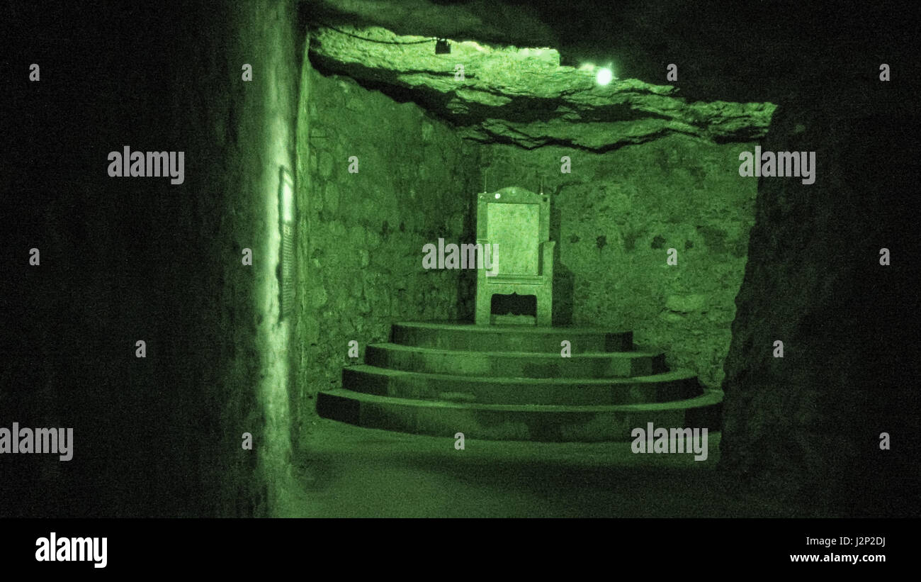 Inside the Budapest labyrinth, where Dracula was said to have been held. Stock Photo
