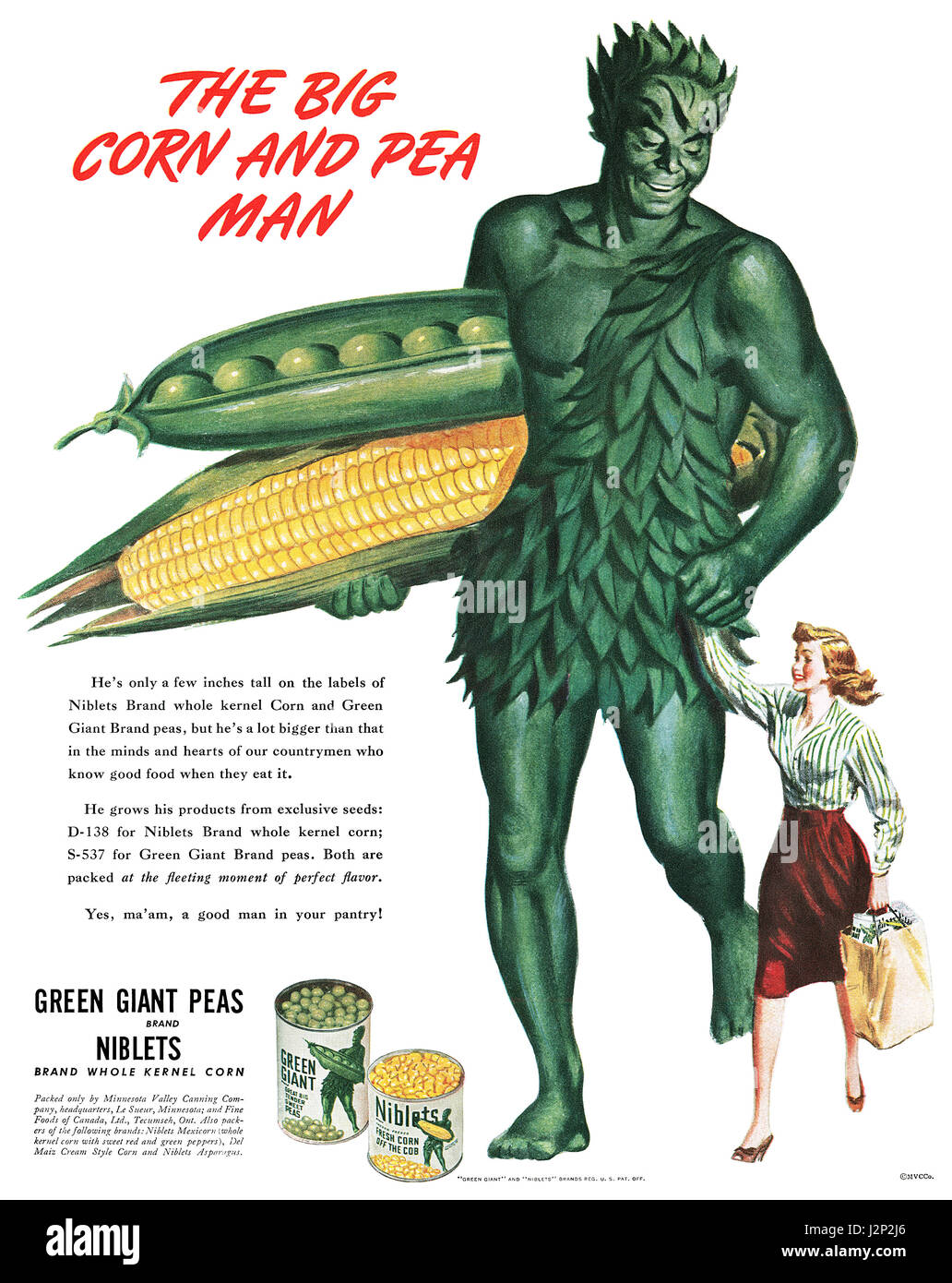 1945 U.S. advertisement for Green Giant Peas and Corn. - Stock Image