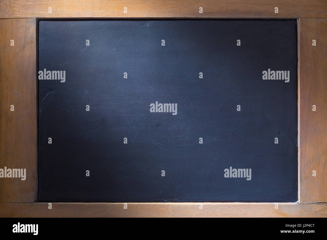 empty chalkboard background with wooden frame side lighting for old