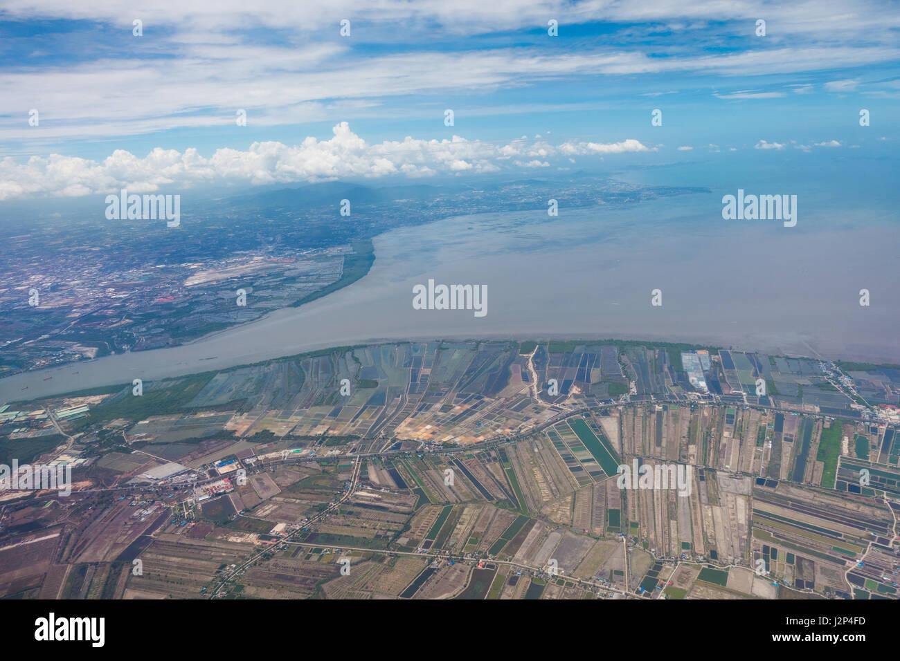 Bangpakong river .Top view from airplane - Stock Image