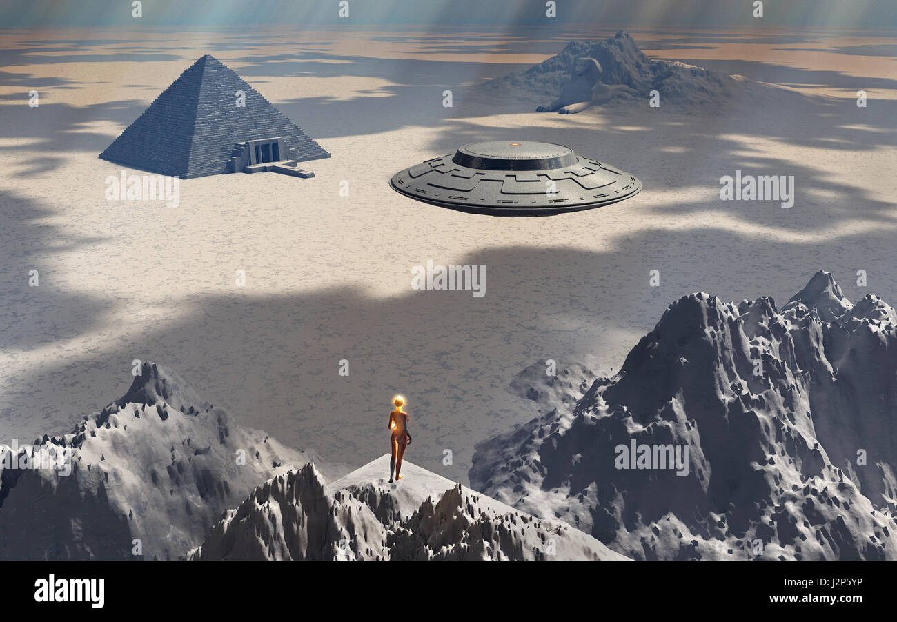 Aliens At Their  Base In Antarctica - Stock Image