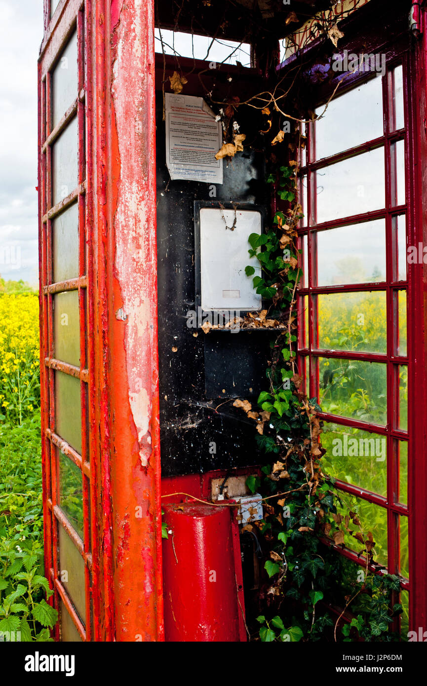 Creeper Ridden Telephone booth, common road, Dunnington, north yorkshire - Stock Image