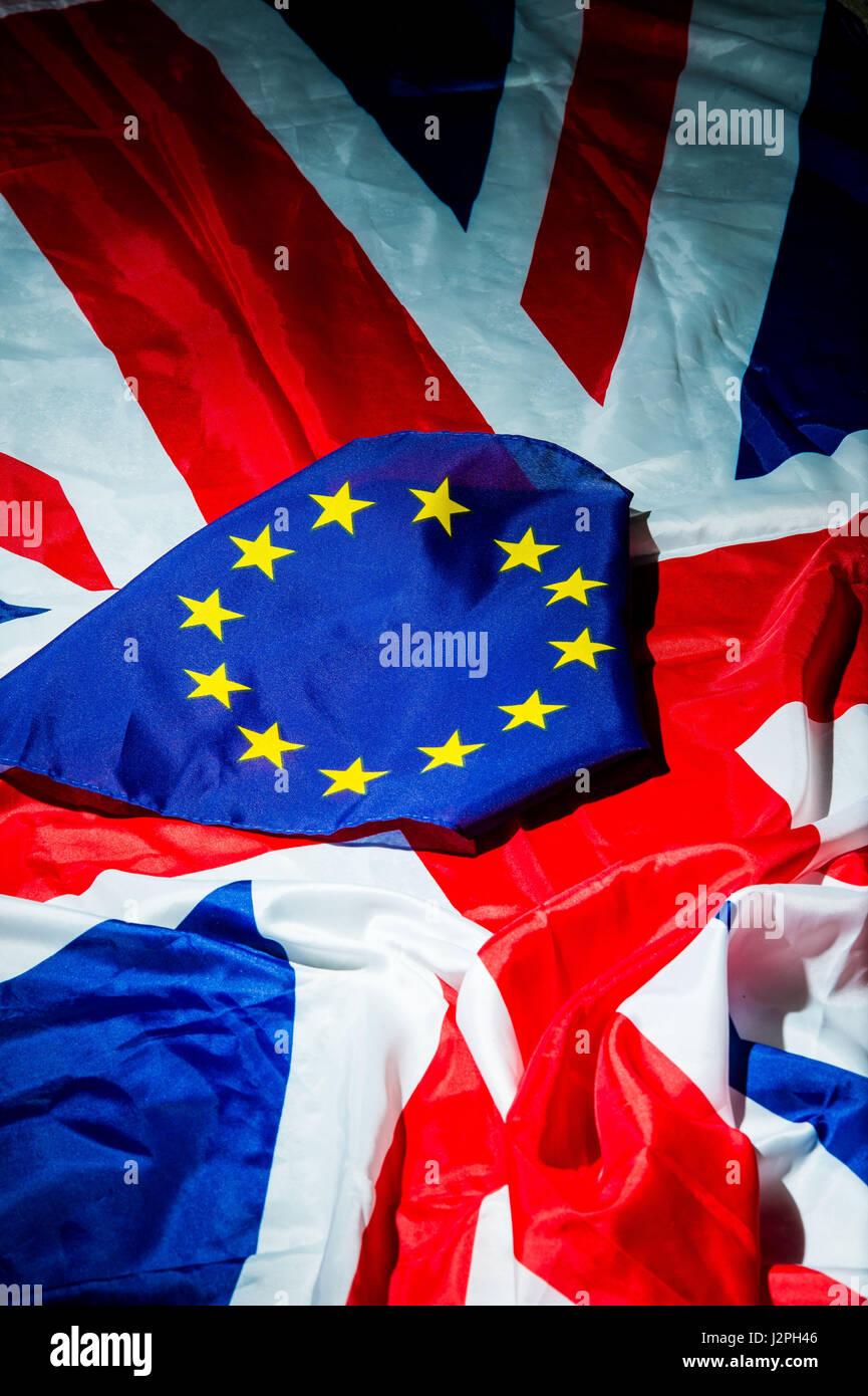 Photographer Ian Georgeson, 07921 567360 Union Jack, European union Flag, Euro, UK, Saltire, European Referendum Stock Photo