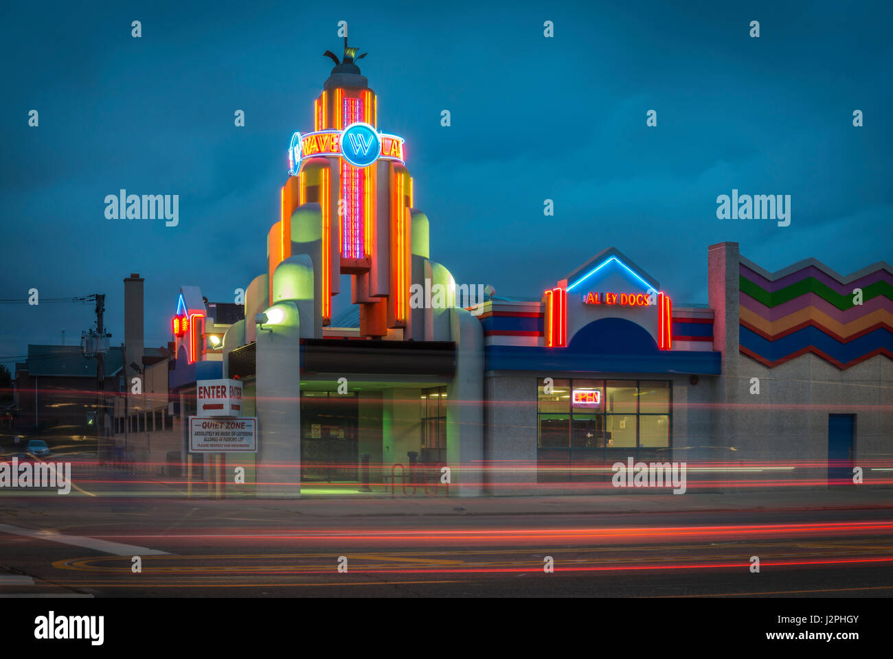 CHICAGO, IL -16 June 2015- Neon sign at Chicago's Landmark Waveland Bowling Alley accentuated with lights of - Stock Image