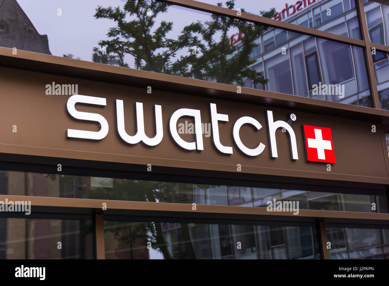 FRANKFURT, GERMANY - Oktober 24, 2015: An outlet of Swatch. The first collection of twelve Swatch models was introduced - Stock Image