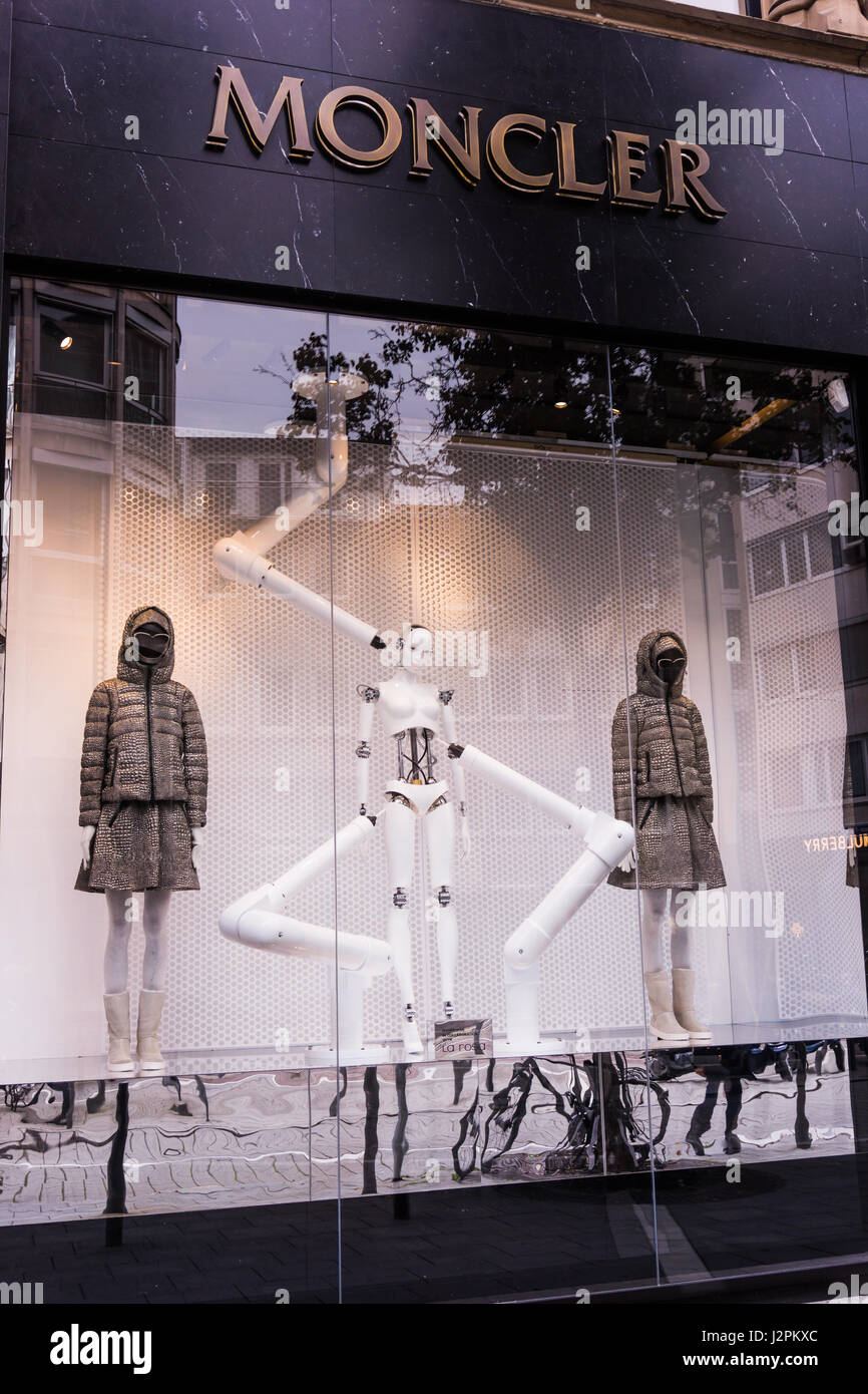 FRANKFURT,GERMANY - Oktober 24, 2015: Side view of Moncler store  in Frankfurt, Germany. Moncler is a French-Italian - Stock Image