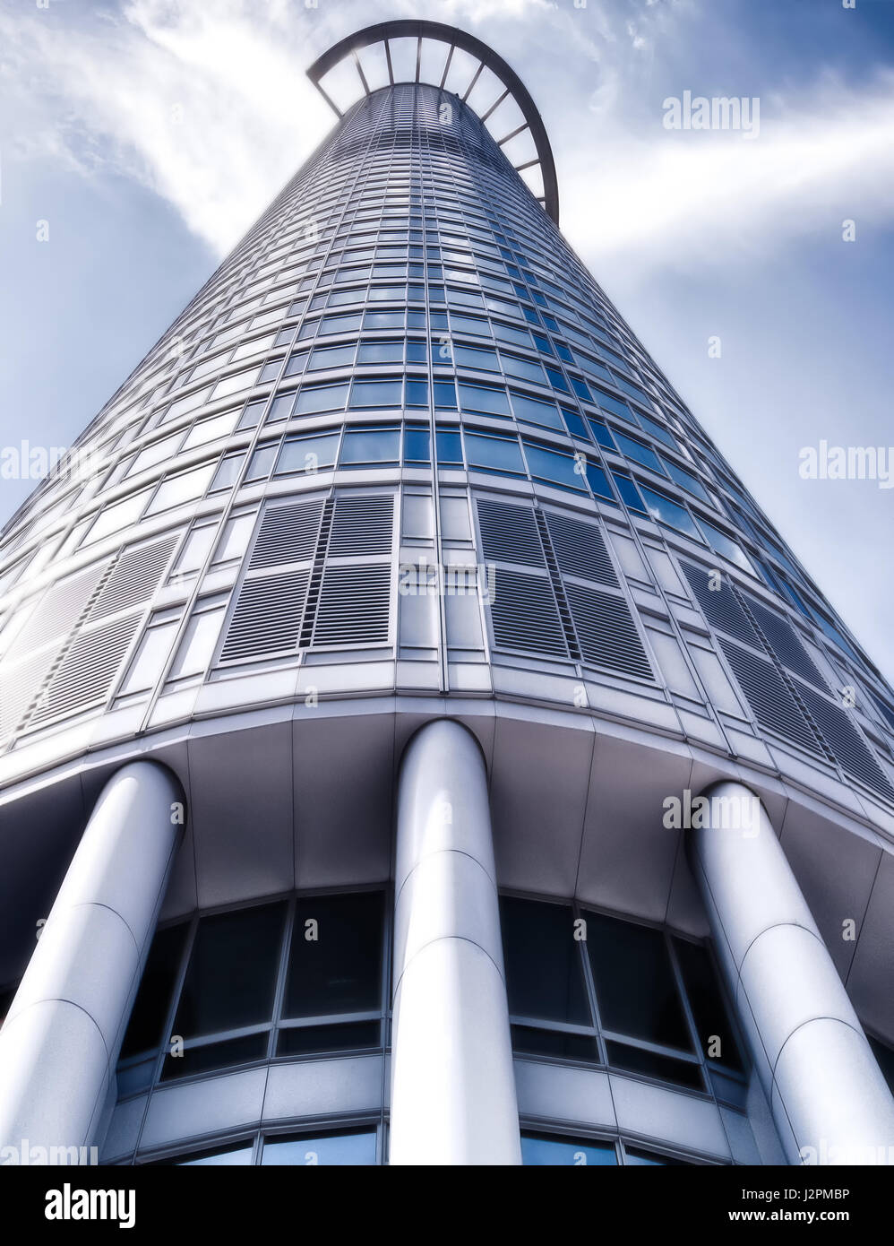 Modern architecture image of skyscraper Westend Tower Frankfurt / Main Germany Europe on a sunny day with blue sky and some clouds & Modern architecture image of skyscraper Westend Tower Frankfurt ...