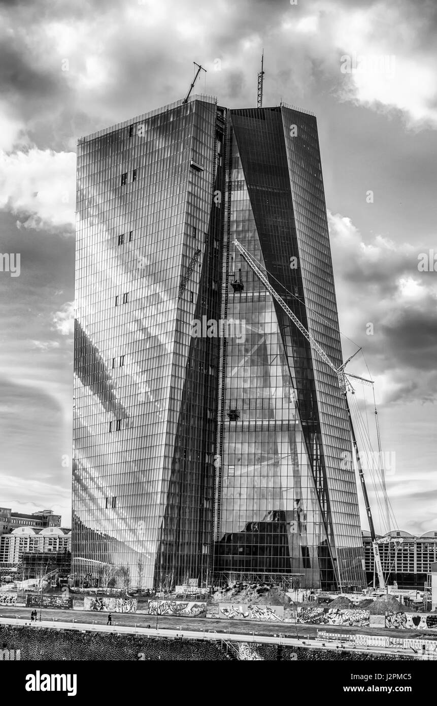 Monochrome fine art image of the European Central Bank under construction - Stock Image