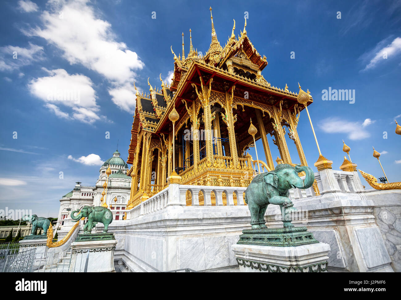 The Ananta Samakhom Throne Hall in Thai Royal Dusit Palace and green Elephant statues in Bangkok, Thailand - Stock Image