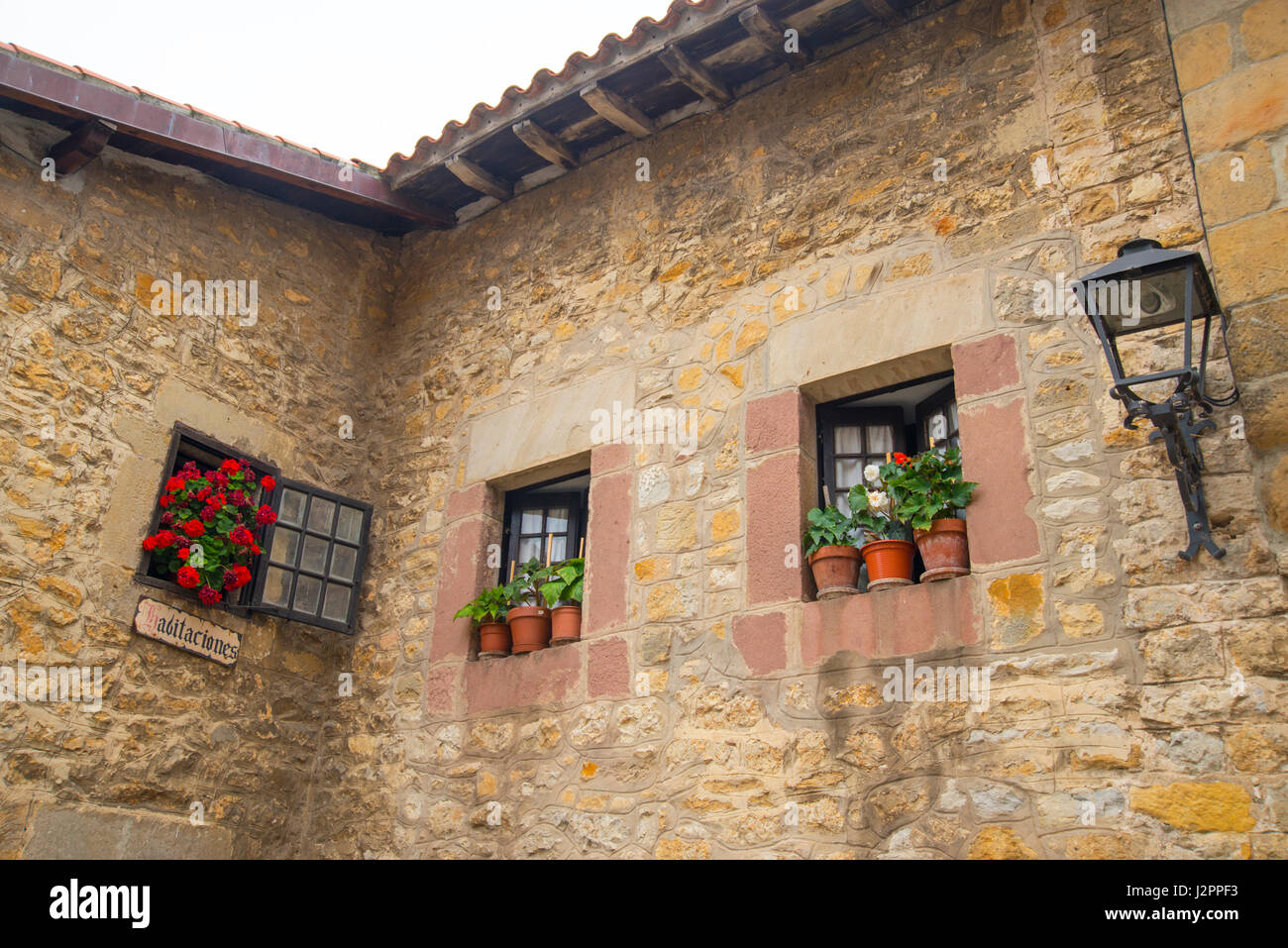 Facade of rural house. Santillana del Mar, Cantabria, Spain. - Stock Image