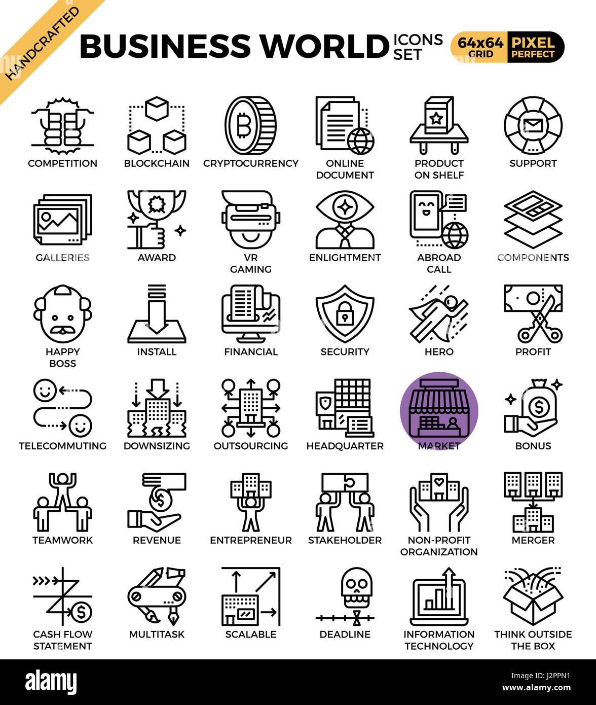 Business World concept detailed line icons set in modern line icon style concept for ui, ux, web, app design - Stock Vector