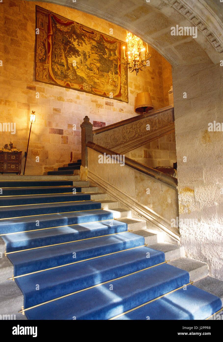Staircase. Parador, Zamora, Castilla Leon, Spain. - Stock Image